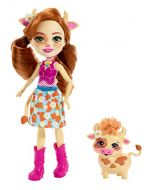Enchantimals FXM77 Cailey Cow Doll (6 Inch), and Curdle Animal Friend Figure, Multicolour (New)