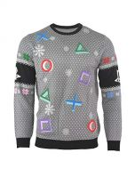 PlayStation Christmas Jumper Ugly Sweater Symbols Grey for Men Women Boys and Girls - XS (New)