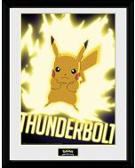 GB eye LTD, Pokemon, Thunder Bolt Pikachu, Framed Print, 30 x 40cm, Wood, Multi-Colour, 52 x 44 x 3 cm (New)