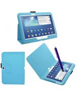 Samrick Executive Specially Designed Leather Book Folio Wallet Case with Exclusive Viewing Stand, Screen Protector, Microfiber Cloth, High Capacitive Stylus Pen for 10.1 inch Samsung Galaxy Tab 3 P5200/P5210/P5220 - Baby Light Blue (New)