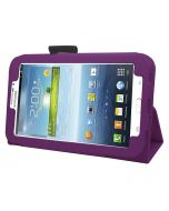 Samrick Executive Specially Designed Leather Book Folio Wallet Case with Exclusive Viewing Stand, Screen Protector, Microfiber Cloth, High Capacitive Mini Stylus Pen for 7 inch Samsung Galaxy Tab 3 P3200/P3210 - Purple (New)