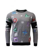 PlayStation Christmas Jumper Ugly Sweater Symbols Grey for Men Women Boys and Girls - M (New)