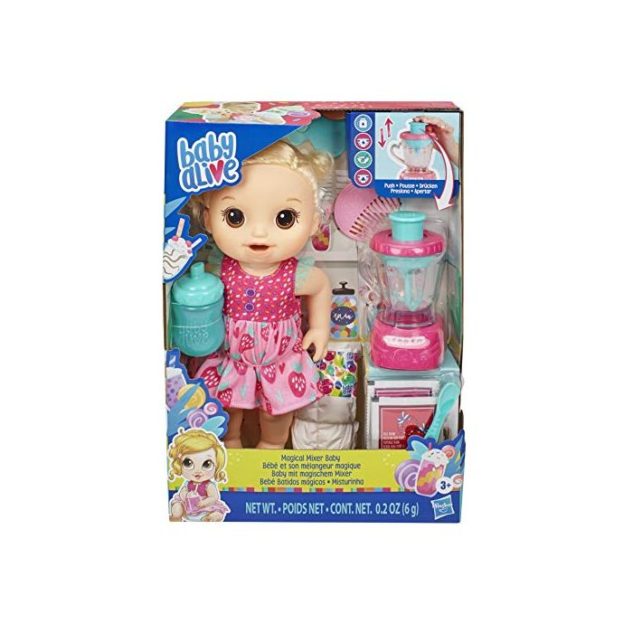 Baby Alive Magical Mixer Baby Doll Strawberry Shake with Blender Accessories, Drinks, Wets, Eats, Blonde Hair Toy for Children Aged 3 and Up (New)