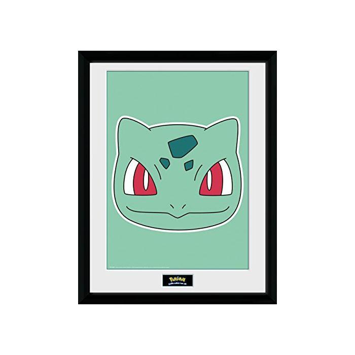 GB eye LTD, Pokemon, Bulbasaur Face, Framed Print, 30 x 40cm, Wood, Multi-Colour, 52 x 44 x 3 cm (New)