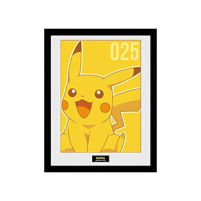 GB eye LTD, Pokemon, Pikachu Mono, Framed Print, 30 x 40cm, Wood, Multi-Colour, 52 x 44 x 3 cm (New)