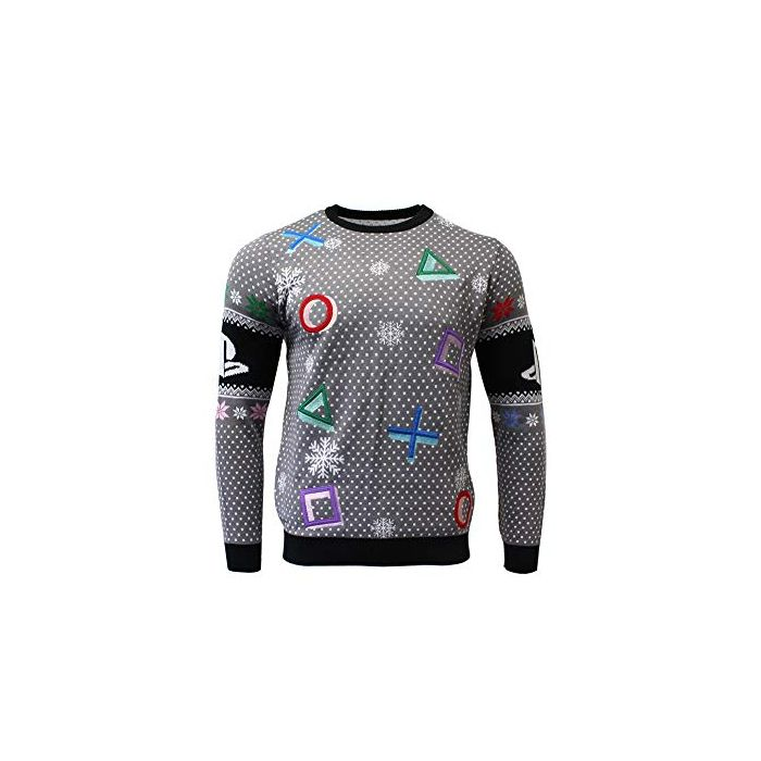 PlayStation Christmas Jumper Ugly Sweater Symbols Grey for Men Women Boys and Girls - S (New)
