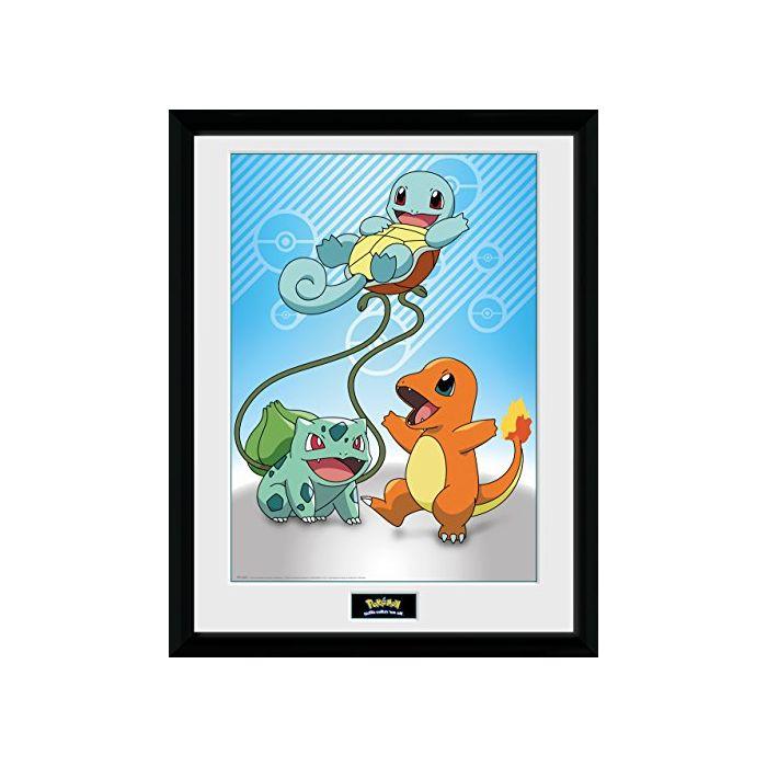 GB eye LTD, Pokemon, Kanto Starter, Framed Print, 30 x 40cm, Wood, Multi-Colour, 52 x 44 x 3 cm (New)