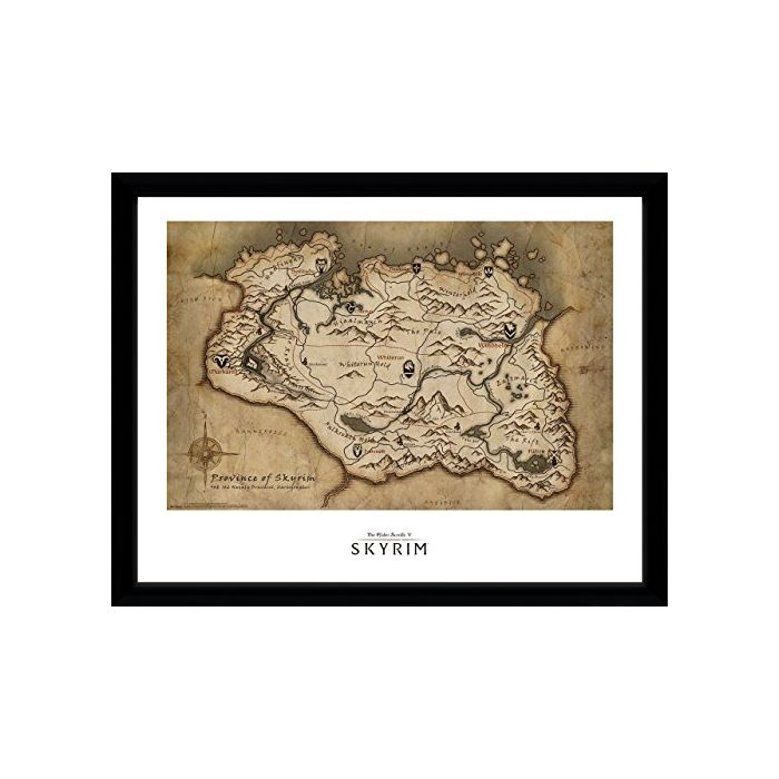 GB eye LTD, Skryim, Map, Framed Print 30x40 cm, Wood, Various, 52 x 44 x 3 cm (New)