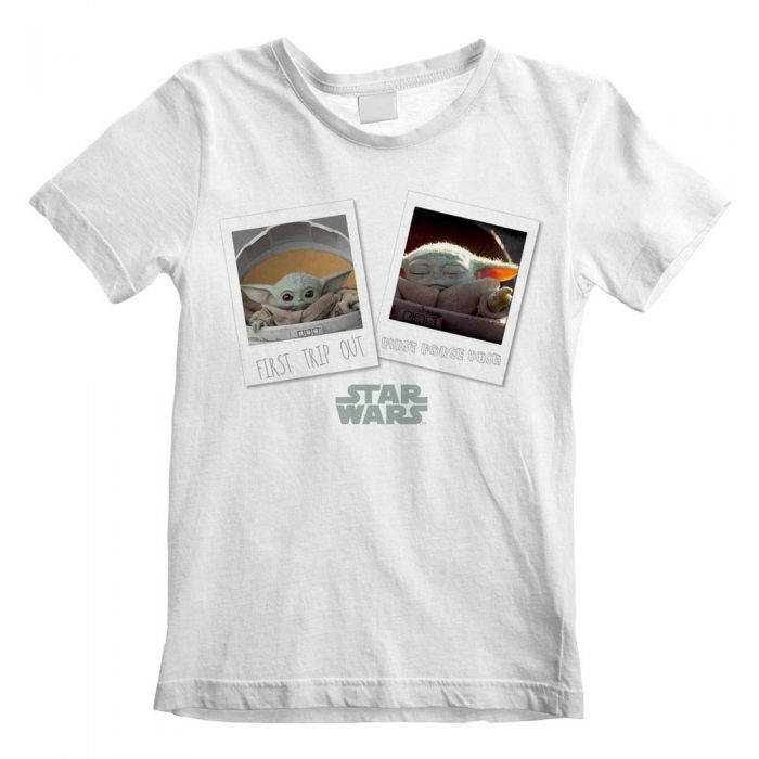 The Mandalorian Official Star Wars, The Child, Baby Yoda's First Day Out Polaroid, Kids White T-Shirt (7-8) (New)