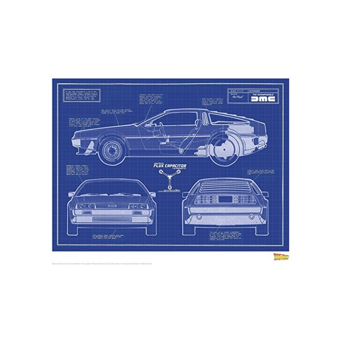 Back to the Future Art Print Blue Print 35 x 28 cm Iron Publishing Posters (New)