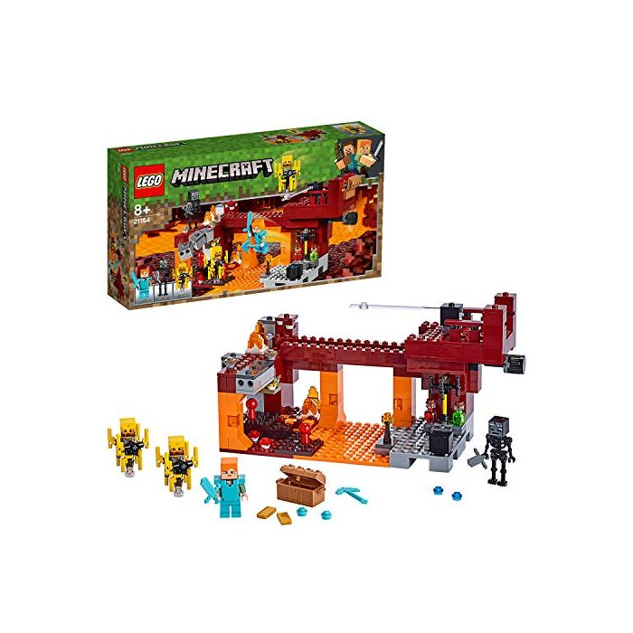 LEGO 21154 Minecraft Alex Minifigure, Wither Skeleton Figure, Lava and Blaze Mob Elements the Nether Micro World Toys for Kids (New)
