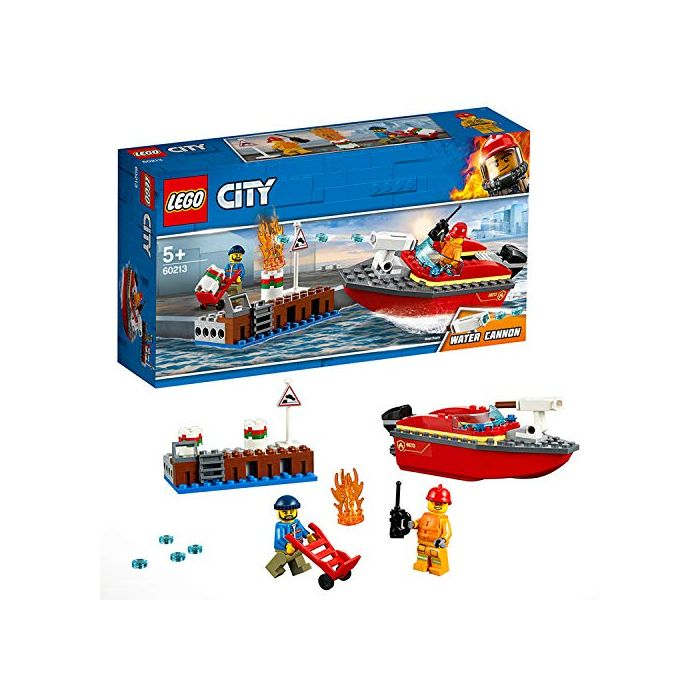 LEGO 60213 City Fire Dock Side Fire Boat Building Set with Water Cannon and Fireman Minifigure, Bath Toy for 5 Years Old (New)