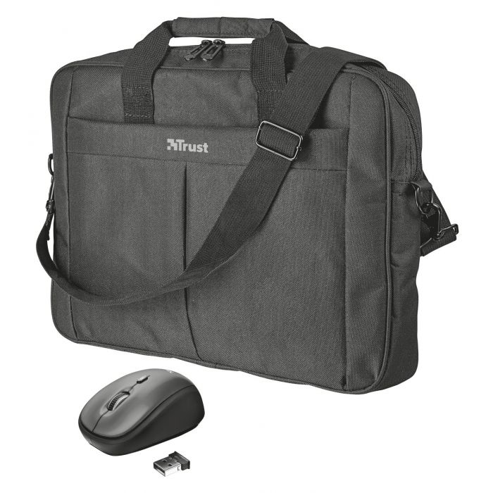 Trust Primo 16 Inch Carry Bag with Compact Wireless Mouse - Black (New)