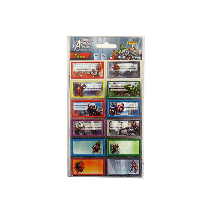Book Stickers Marvel Avengers Assemble Pack of 12, Size 50mm x 30mm (New)