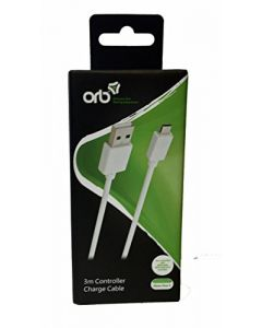 ORB 3m Controller Charge Cable White - compatible with Xbox One S (New)