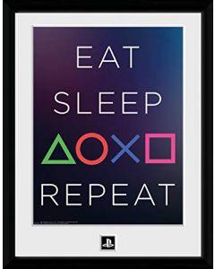 PlayStation Eat Sleep Repeat 24 x 30 CM Framed Print (New)