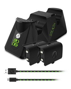 Stealth Xbox One Twin Charging Dock with Rechargeable Battery Packs (Black) (New)