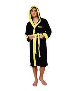 Rocky Men's Long Sleeve Bathrobe Black Black One size (New)