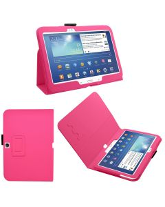 SAMRICK Executive Specially Designed Leather Book Folio Wallet Case with Exclusive Viewing Stand, Screen Protector, Microfiber Cloth for 10.1 inch Samsung Galaxy Tab 3 P5200/P5210/P5220 - Hot Pink (New)