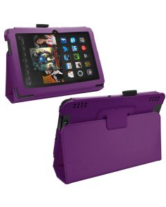 Samrick Executive Specially Designed Leather Book Folio Wallet Case with Viewing Stand, Screen Protector/Foil/Film/Guard, Microfibre Cloth and High Capacitive Stylus Pen for 7 inch Amazon Kindle Fire HDX - Purple (New)