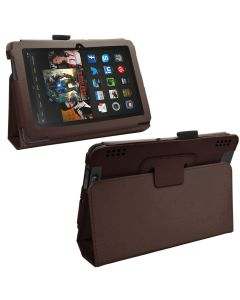 Samrick Executive Specially Designed Leather Book Folio Wallet Case with Viewing Stand, Screen Protector/Foil/Film/Guard, Microfibre Cloth and High Capacitive Mini Stylus Pen for 7 inch Amazon Kindle Fire HDX - Brown (New)