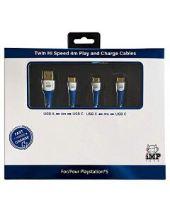 iMP Tech PS5 High Speed 4 Metre Play & Charge Cable Twin Pack (PS5) (New)