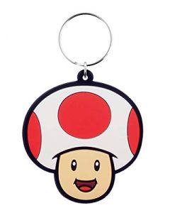 Super Mario (Toad) Rubber Keychains, White, One Size (New) (New)
