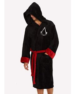 Groovy Assassin's Creed Hooded Bathrobe, Polyester, Black, One Size (New)