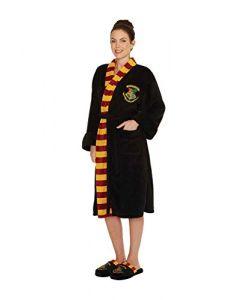 Harry Potter Bathrobe Hogwarts School Crest Official Womens Black Fleece One Size (New)