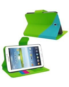 Samrick Two Tone Mix Executive Specially Designed Leather Book Folio Wallet Case with Exclusive Viewing Stand, Credit Card/Business Card Holder, Photo/Picture Holder, Screen Protector, Microfiber Cloth for 7 inch Samsung Galaxy Tab 3 P3200/P3210 - Green B