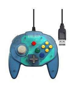 Retro-Bit Tribute 64 USB for PC, Switch, Mac, Steam, RetroPie, Raspberry Pi - Ocean Blue (New)