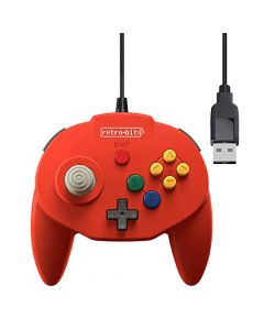 Retro-Bit Tribute 64 USB for PC, Switch, Mac, Steam, RetroPie, Raspberry Pi - Red (New)